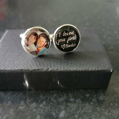 £8.99 • Buy Cufflinks Round Personalised With Any Photo, Image, Text. Wedding Birthday Gift