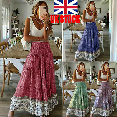 £12.99 • Buy Womens Ladies Skirt Maxi Embroidered Lace Gypsy Boho Casual Dress6 8 10 12 14 16