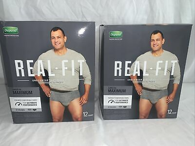 $27.54 • Buy Depend Real Fit  Underwear For Men Max Absorbency L/XL Lot Of (2)!! NEW