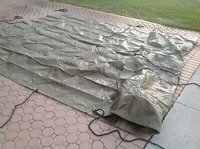 $155 • Buy MILITARY SURPLUS AMMO TARP 12 X17 ARMY Green COVER  TENT FLOOR  TRAILER + ROPES
