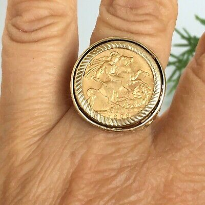 £365 • Buy 22ct GOLD HALF SOVEREIGN RING EDWARD 1908 - 8.7g Size P