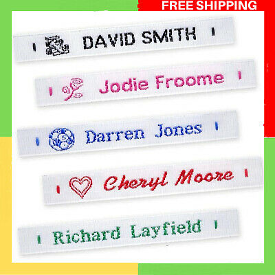 £8.85 • Buy 72 Woven Sew On Name Tapes School Tags Labels Clothing Personalized Lettering