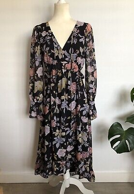 AU50 • Buy Forever New Floral Nora Ruffle Midi Long Sleeve Dress Size 8 - Wedding Cocktail