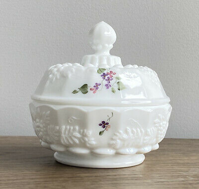 $26 • Buy Fenton White Milk Glass Painted Signed Violets In The Snow Lidded Candy Dish