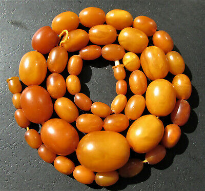 £1153.65 • Buy Antique Natural Butterscotch Egg Yolk Baltic Amber Beads Necklace 65.2