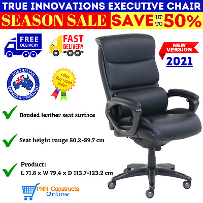 AU607.49 • Buy True Innovations Executive Chair Office Leather Seat Premium Casters NEW AU