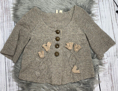 $ CDN50.14 • Buy Rare Vintage Anthropologie Calla Lily Cardigan Embellished Front & Back By MOTH