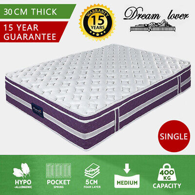 AU150.99 • Buy QUEEN KING SINGLE DOUBLE Mattress Bed Euro Top Pocket Spring Dream Lover AU