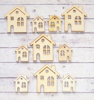 £1.99 • Buy 10 New Natural Wooden House Shape Card Topper Craft Decoration 4 Large 6 Small