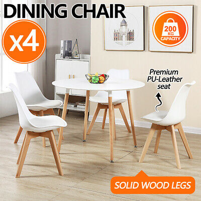 AU85 • Buy 4x Dining Chairs Kitchen Table Chair Lounge Room PU Wood Retro Padded Seat