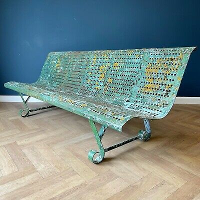 £695 • Buy Antique Garden Bench Wrought Iron Green Outdoor Benches Metal French Victorian