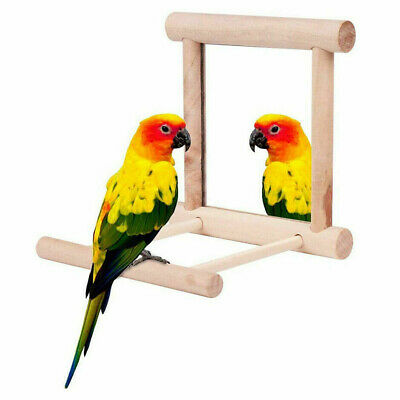 £5.32 • Buy Bird Parrot Cage Toys Hanging Swing Play With Mirror Parakeets Perch Stand UK