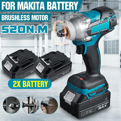 £58.59 • Buy 18V Brushless Cordless Impact Wrench 1/2  Driver Replace With 2 Battery +Charger