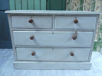 £120 • Buy Hand Painted Oak Low Chest Of Drawers