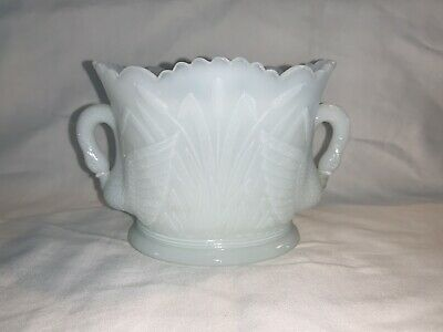 $5 • Buy Swan And Cattail Reed Small Milk Glass Vase