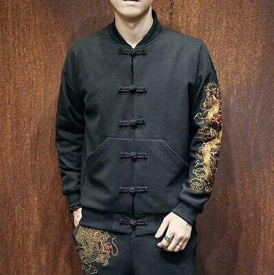 $63.97 • Buy Mens Male Chinese Long Sleeve Embroidery Coat Cotton Han Chinese Clothing 2019