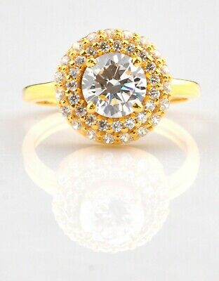 AU0.99 • Buy 14KT Yellow Gold With D-Color Round Shape 3.00Ct Solitaire Women's Wedding Ring