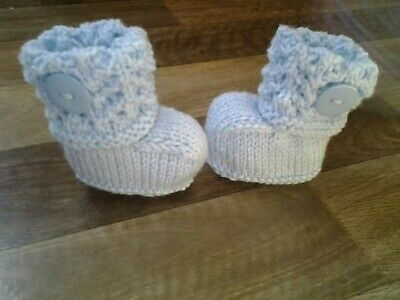 £2 • Buy Hand Knitted Newborn Baby Boots/Booties In Blue 0-3 Months