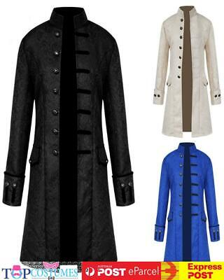 AU43 • Buy Deluxe Mens Steampunk Vintage Tailcoat Jacket Gothic Victorian Ringmaster Coat