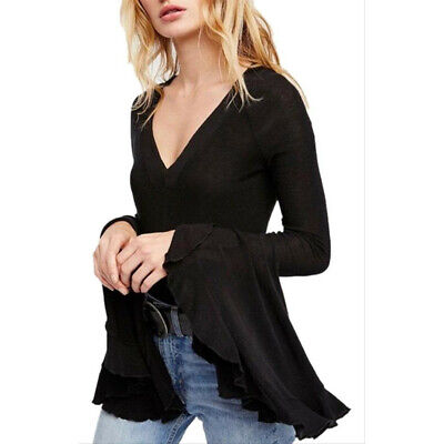 $ CDN37.75 • Buy NWT Womens Size XL Free People Anthropologie Black So Dramatic Bell Sleeve Top