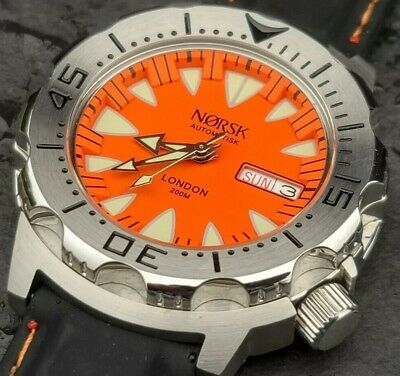 $ CDN125.88 • Buy Automatic Sea Monster Watch, Norsk, Norway, Diver, Seiko NH36a Movement. Orange