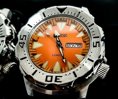 $69 • Buy Sea Monster Watch, Norsk (medal Winners, Norway) Diver, Citizen Movement Orange