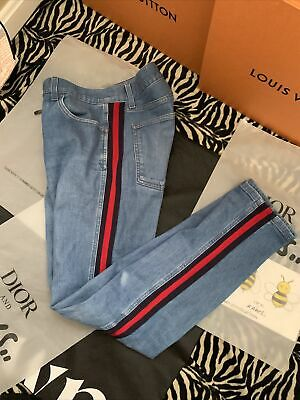 AU474.22 • Buy Auth Gucci Men's Jean's Slim Red & Blue Stripe Made In Italy