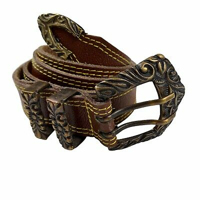 $19.87 • Buy VTG Western Leather Belt Double Tongue Prong  Ornate Buckle Brown Yellow Stitch