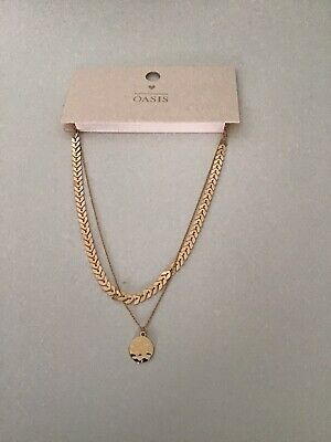 £5 • Buy Oasis Necklace Brand New Double Necklace Gold And Coral  Design .