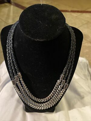 $ CDN18.87 • Buy Lia Sophia Necklace Silver With Leather Braided Strands 3 Tier