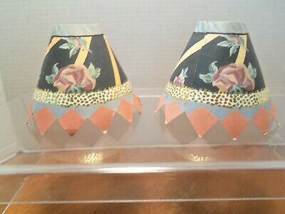$35 • Buy Pair Of MacKenzie-Childs Paper Rose Lampshades From 1993