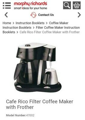£14.99 • Buy Morphy Richards Cafe Rico Filter Coffee Maker Machine With Milk Frother