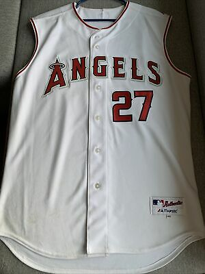 $150 • Buy Vintage Majestic Authentic Mike Trout Sleeveless Jersey 48 Angels