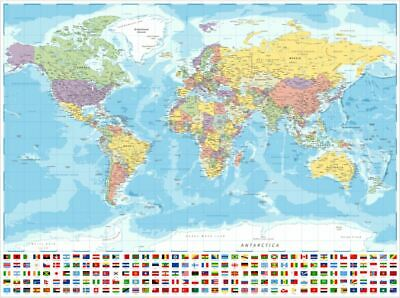 AU21.67 • Buy (LAMINATED) MAP OF THE WORLD POSTER 61x91cm LARGE FLAGS WALL PRINT ART TRAVEL