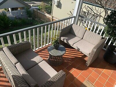 AU300 • Buy 3 Piece Outdoor Wicker Lounge Setting - 2 X 2 Seater Sofas Plus Small Table