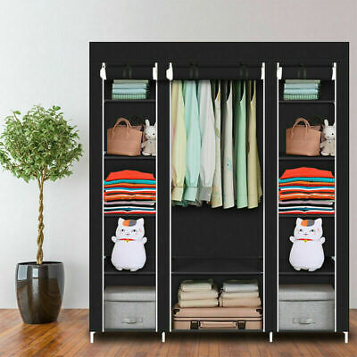 £19.99 • Buy Large Canvas Fabric Wardrobe With Hanging Rail Shelving Clothes Storage Portable