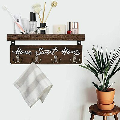 $19.95 • Buy Wall Mounted Key Mail Holder Wooden Rack Hallway Rustic Home Decor Metal Brown