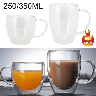 £10.99 • Buy 2PCS 250/350ml Glass Coffee Mug Clear Double Wall Insulated Thermal Tea Cup