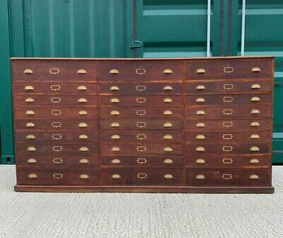 £2995 • Buy Very Large Antique Oak Victorian Museum Collectors Plan Chest Bank Of Drawers