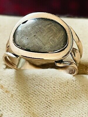 £295 • Buy Antique Georgian 9 Ct Rose Gold Mourning Ring Hair Decoration Size P Rare 1820s