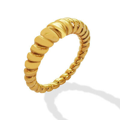 £8.37 • Buy Woman 18k Gold Plated Stainless Steel Rope Twist Band Ring Joint Ring 6-8