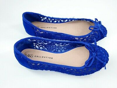£10 • Buy M&S Collection Size 3 (36) Blue Net / Lace Bow Front Slip On Flat Ballet Pumps