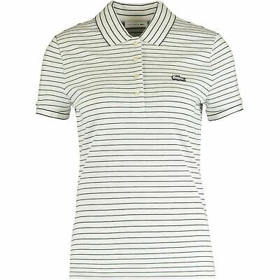 £29.99 • Buy LACOSTE Women's Polo Shirt, SLIM FIT, Off-white/Navy Blue Striped, Size UK 16