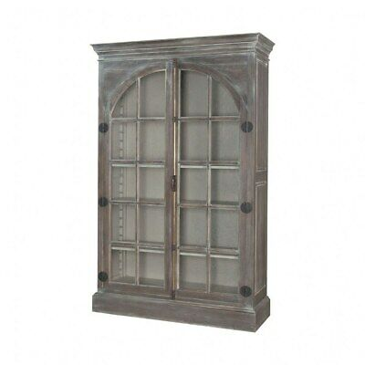 $1741.76 • Buy Rustic Greige Display Cabinet Made Of Glass Mahogany Solid Wood In Manor Griege