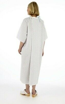 £0.99 • Buy Unisex NHS Wrap Over White Hospital Patient Gown, Reusable Night Dress UK Stock