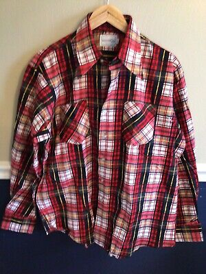 $19.99 • Buy Vintage Wind-Mill Mens XL Red Navy Yellow  Plaid Flannel Button Down Shirt New