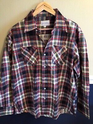 $19.99 • Buy Vintage Wind-Mill  Mens Sz L Navy Yellow  Plaid Flannel Button Down Shirt New