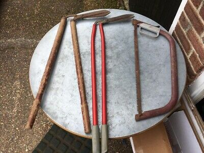 £120 • Buy Two Antique Wooden Saw And Garden Hedge Clipper (3 Set) 1x Red Garden Hesge Clip