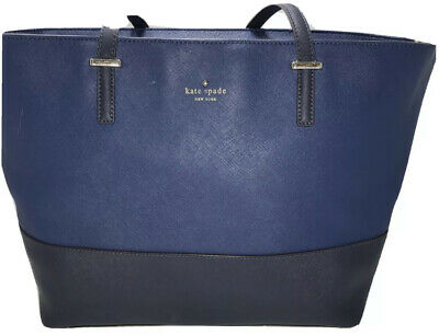 $ CDN44.06 • Buy Kate Spade Tote Blue Saffiano Leather, Double Leather Straps, Large Purse