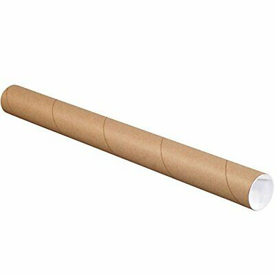 $72.66 • Buy Partners Brand PP2024K Mailing Tubes With Caps 2  X 24  Kraft Pack Of 50